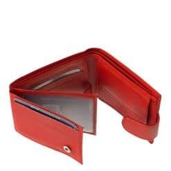 Puha tapintású piros színű bőr felhasználásával gyártott, kisméretű női pénztárca a LA SCALA márkacsaládtól RFID védelemmel.