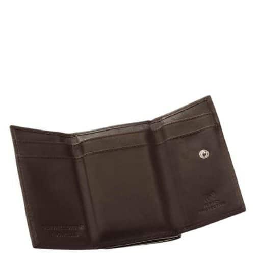 LA SCALA márkajelzésű, valódi bőr felhasználásával készített kisméretű női pénztárca, melyet barna színben és RFID -s kialakításban kínálunk.
