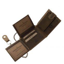 Rusztikus valódi bőr felhasználásával készített barna színű motoros pénztárca a GreenDeed márkacsaládtól minőségi kivitelben.