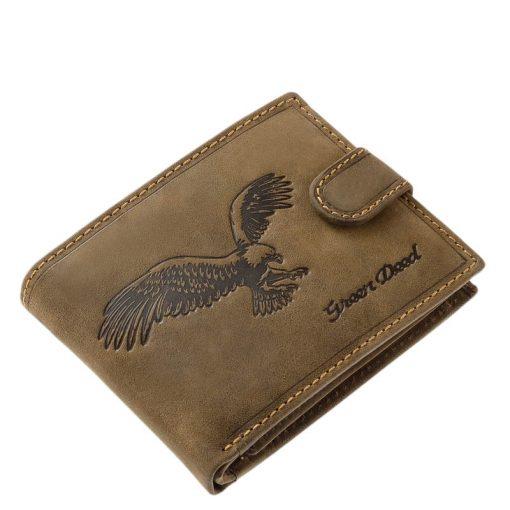 Valódi bőr, minőségi gyártással készült férfi pénztárca barna színű elegáns külsővel és egyedi sas mintával. Kedvelt igen praktikus modell.