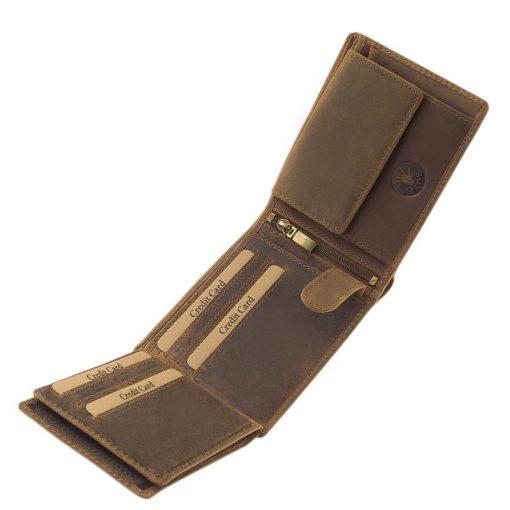 A GreenDeed terméke ez a barna színű, minőségi bőr pénztárca sas mintás motívummal, mely ebbe a rusztikus igazi bőrbe került benyomásra.