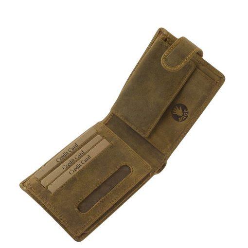Rusztikus valódi marhabőrből készített barna színű férfi bőr pénztárca sas mintás fedéllel a minőségi GreenDeed márkacsaládtól.