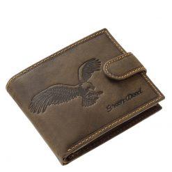 Rusztikus megjelenésű barna színű, minőségi igazi bőrből készült ez a férfi bőr pénztárca sas mintás fedéllel. Díszdobozos termék.