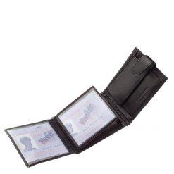 Szép kidolgozású, finom tapintású minőségi nappa bőr felhasználásával gyártott Chioco márkás férfi pénztárca, klasszikus fekete színben.