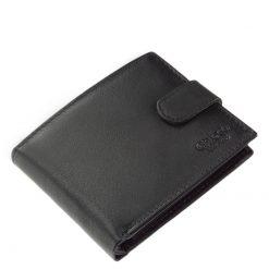 Minőségi fekete színű valódi nappa bőr felhasználásával készült, elegáns külsővel rendelkező klasszikus kialakítású férfi pénztárca.