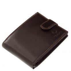 Minőségi igazi bőrből gyártott természetes karakterű, klasszikus kialakítású bőr férfi pénztárca fekete, barna színben. Díszdobozos termék.