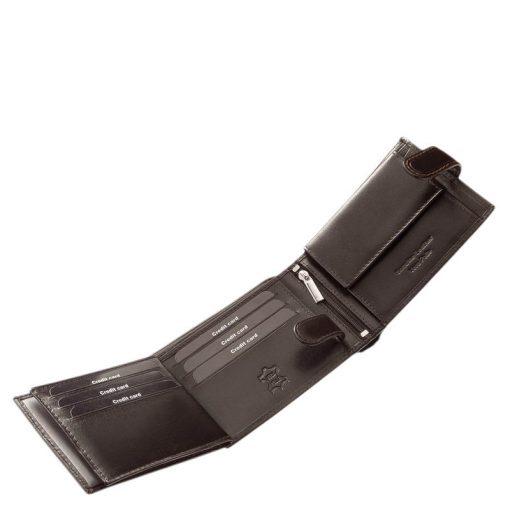 Márkás prémium kategóriájú elegáns férfi bőr pénztárca selyemfényű minőségi bőrből, melyet fekete illetve barna színben gyártunk.