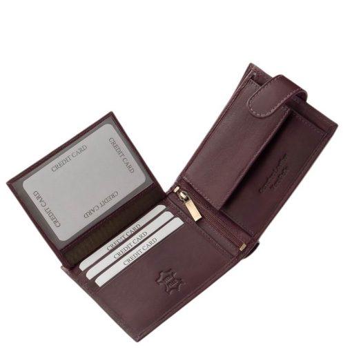 Lila színű Corvo Bianco jelzésű, finom tapintású, igényes igazi bőr női pénztárca, amelynek használata rendkívül kényelmes és praktikus.