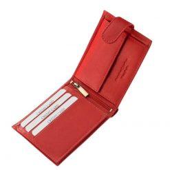 Piros színű Corvo Bianco jelzésű, finom tapintású, igényes igazi bőr női pénztárca, amelynek használata rendkívül kényelmes és praktikus.