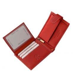 Finom kidolgozású, puha tapintású piros színű valódi bőrből készült, klasszikus és egyben divatos megjelenésű női bőr pénztárca.