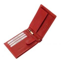 Minőségi, puha bőr felhasználásával készült ez az új fejlesztésű, elegáns piros női pénztárca modellünk praktikus kialakítással