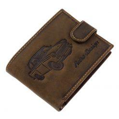 Különleges retro autó mintával tervezett, minőségi férfi bőr pénztárca a régi autó kedvelőinek ajánljuk, barna színben RFID védelemmel.
