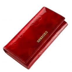 Nagy méretű GREGORIO lakk bőr női pénztárca, mely elegáns piros színben és díszdobozos kivitelben érhető el áruházunkban.