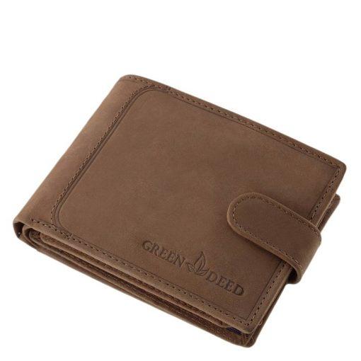 Valódi bőr felhasználásával gyártott, egyedi kidolgozású GreenDeed sportos bőr pénztárca férfi vásárlóinknak mely átkapcsoló pánttal zárható.