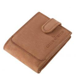 Erős, valódi bőrből készült, barna vadászbőr GreenDeed kisméretű férfi bőr pénztárca, amelyet nagyon magas gyártási minőség jellemez.