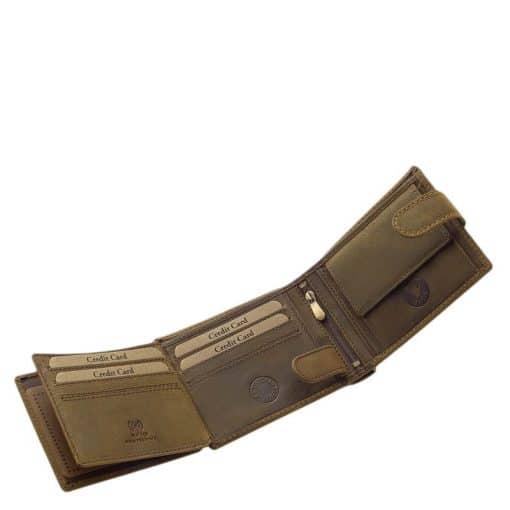 Minőségi barna színű bőr felhasználásával gyártott férfi pénztárca a GreenDeed márkától, melynek fedelén egy retro autós grafika látható.