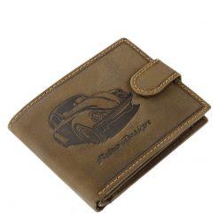 Minőségi barna színű bőr felhasználásával gyártott férfi pénztárca a GreenDeed márkától, melynek fedelén egy autós grafika látható.