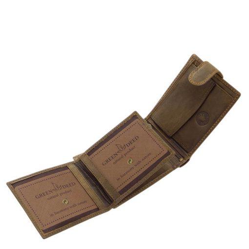 Különleges felületi dizájnnal gyártott valódi bőr férfi pénztárca, mely barna színben készült busz mintás benyomattal fedelén.